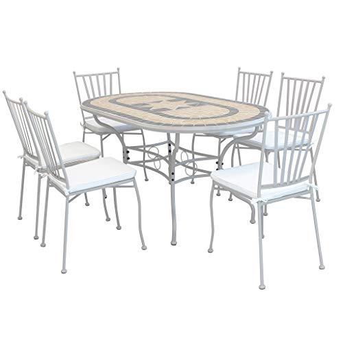 Milani Home s.r.l.s. Set Tavolo Giardino Ovale Fisso con Piano in Mosaico 160 X 90 con 6 SEDIE in Ferro Tortora per Esterno - 1