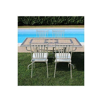 Milani Home s.r.l.s. Set Tavolo Giardino Rettangolare con Piano in Mosaico 160 x 90 con 4 sedie in Ferro Tortora per Esterno - 2