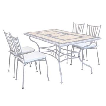 Milani Home s.r.l.s. Set Tavolo Giardino Rettangolare con Piano in Mosaico 160 x 90 con 4 sedie in Ferro Tortora per Esterno - 1