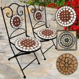 Nova Sedie a Mosaico Pieghevoli, Set da 2 - Rotonda, 46cm Altezza del Sedile, Rosso Bianco - Disegno a Scelta - Sedia Bistro da Esterno, da Giardino, da Balcone - 1