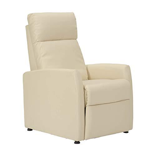 POLTRONE ITALIA - Poltrona Relax reclinabile Pressione del Corpo, 3 Posizioni Normale Seduta, TV con Piedi alzati e distesa Letto - Poltrona-Adele-B-ECBEI Crema Ecopelle - 1