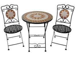 Rigamonti Set Pieghevole in Acciaio e Mosaico Composto da 2 sedie e Un tavolino. - 1