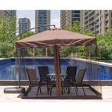 SKYLLPATION Premium Grande Zanzariera per ombrelli - ombrellone convertitore di Trasformate Il Vostro ombrellone in Un Gazebo con Cerniera Anti-Polvere,Marrone - 1