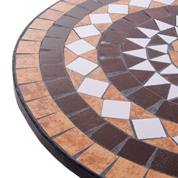 VERDELOOK Tavolo Set Mosaico in Metallo Verniciato per l'arredo del Giardino. Dimensioni 60x60 h73 cm - 4