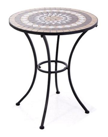 VERDELOOK Tavolo Set Mosaico in Metallo Verniciato per l'arredo del Giardino. Dimensioni 60x60 h73 cm - 1
