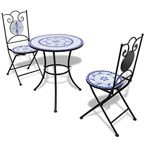 vidaXL Mobili da Giardino Esterno Tavolo Mosaico 60 cm e 2 Sedie Blu/Bianco - 1