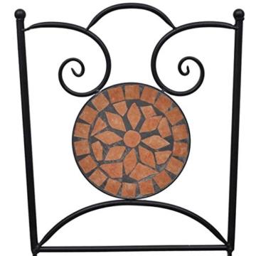 vidaXL Set 2 pz Sedia Bistro in Ferro da Giardino Esterno con Mosaico Terracotta - 3