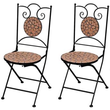 vidaXL Set 2 pz Sedia Bistro in Ferro da Giardino Esterno con Mosaico Terracotta - 1
