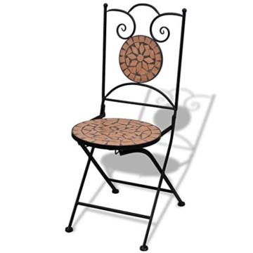 vidaXL Set 2 pz Sedia Bistro in Ferro da Giardino Esterno con Mosaico Terracotta - 5