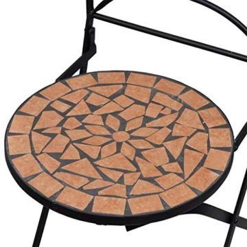 vidaXL Set 2 pz Sedia Bistro in Ferro da Giardino Esterno con Mosaico Terracotta - 6