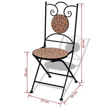 vidaXL Set 2 pz Sedia Bistro in Ferro da Giardino Esterno con Mosaico Terracotta - 7