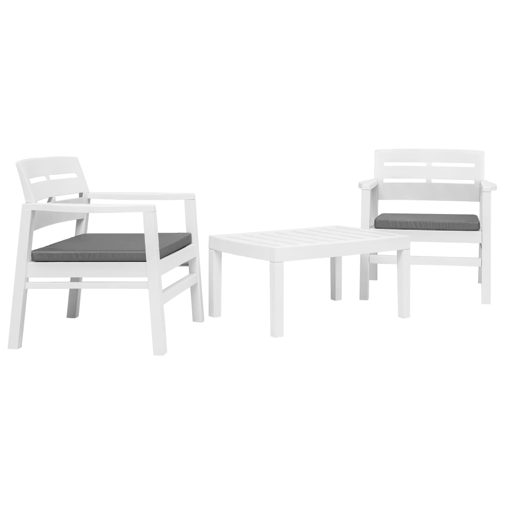 vidaXL Set Salotto da Giardino 3 pz in Plastica Bianco