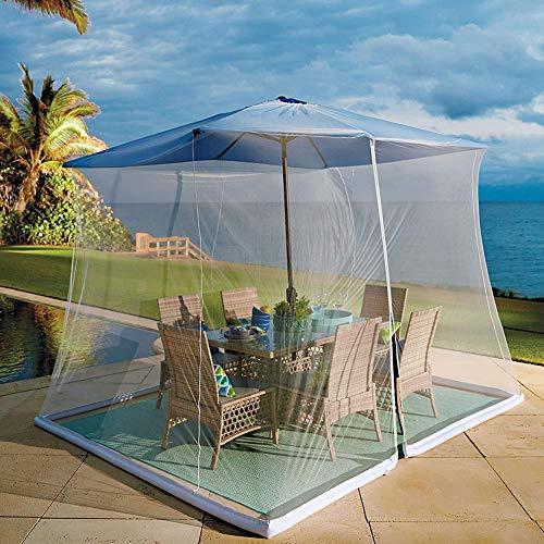 Zanzariera per ombrelli, con porta con cerniera e rete in poliestere, regolabile in altezza e diametro – adatta a ombrelli e tavoli da terrazzo – bianco - 1