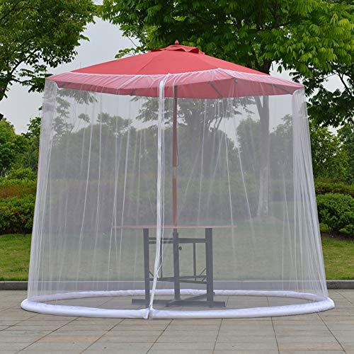 Zanzariera per ombrello, 3 x 2,3 m, protezione solare con chiusura a cerniera, copertura per ombrellone da giardino, tavolo da giardino, zanzariera Taglia libera bianco - 1