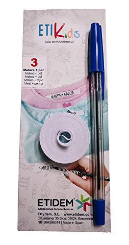 1Rotolo di nastro in tessuto da 3metri x 1cm, di colore bianco Etichetta termoadesiva personalizzabile con scritte. Include una penna. - 1