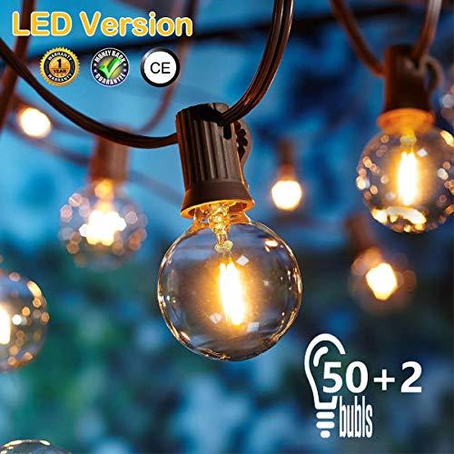 [50 LED Versione]16.6 Metri Catene Luminose Esterno,OxyLED G40 50+2 Lampadine Luci All'aperto Della Corda del Giardino del Patio, Luci Decorative del Corda,Luci di Natale del Terrazzo del Giardino - 1