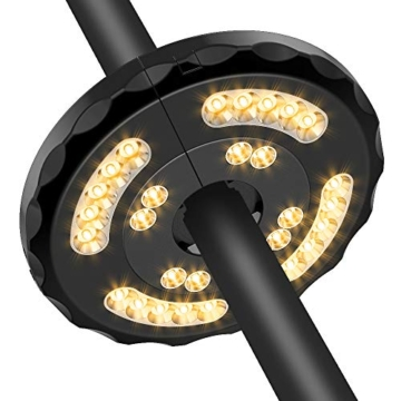 [Aggiornato] Lampada Ombrellone da Giardino Wireless Ricaricabile USB con 28 LED, 2 Modalità di Illuminazione, Durata: 18-54 ore, Luci per Ombrellone da Giardino Esterno Terrazzo Balcone (Luce Calda) - 2