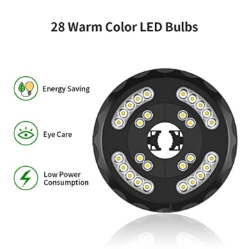 [Aggiornato] Lampada Ombrellone da Giardino Wireless Ricaricabile USB con 28 LED, 2 Modalità di Illuminazione, Durata: 18-54 ore, Luci per Ombrellone da Giardino Esterno Terrazzo Balcone (Luce Calda) - 3