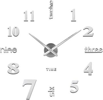 Auped Moderno Orologio da Parete Fai da Te, 3D Adesivo Orologio Parete Decorazione, Facile da Montare, Design Moderno, Usato per Decorare La Parete Vuota, Come casa, Ufficio, Hotel - 3