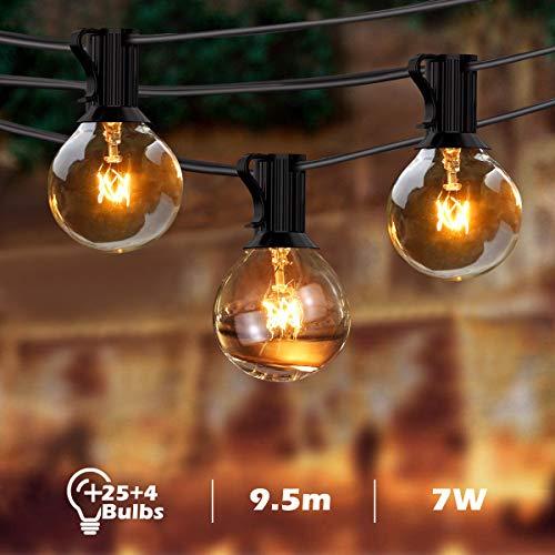 BACKTURE Catena Luminosa Lampadina, G40 Illuminazione Giardino Stringa Lampadina 25+4 Lampadine di Ricambio, 9,5m/31FT Luci Esterne da Impermeabile Catena Luminosa per Natale, Giardino, Matrimonio - 1