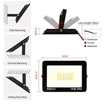 Bapro Faretto LED da Esterno 10W, Fari di sicurezza,Lampada Luce Potente Bianco Caldo (3000K) Faro Impermeabile IP65 per Giardino Cortile,[Classe di efficienza energetica A++ ] - 4
