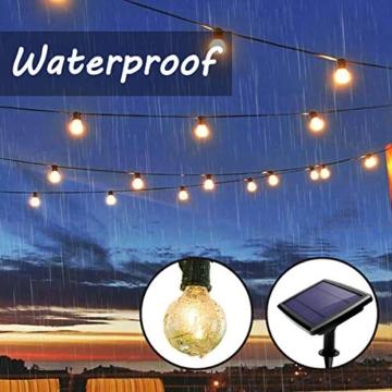 Catena Luminosa Esterno LED, QXMCOV 15 Metro Luce Stringa Esterno Solare, Luci Stringa Lampadina con 50 Lampadine Bianco Caldo Catena Luminosa Solare Decorazione per Giardino, Casa, Feste, Matrimonio - 5