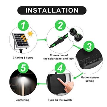 CLY Faretto Solare con Sensore di Movimento 60 LED, Luce Solare da Esterno, Faro Pannello Solari Impermeabile(IP66), Lampada Solare da Esterno con Sensore, 6500K Bianco per Giardino - 2
