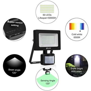CLY Faretto Solare con Sensore di Movimento 60 LED, Luce Solare da Esterno, Faro Pannello Solari Impermeabile(IP66), Lampada Solare da Esterno con Sensore, 6500K Bianco per Giardino - 3