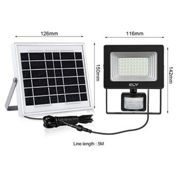 CLY Faretto Solare con Sensore di Movimento 60 LED, Luce Solare da Esterno, Faro Pannello Solari Impermeabile(IP66), Lampada Solare da Esterno con Sensore, 6500K Bianco per Giardino - 4