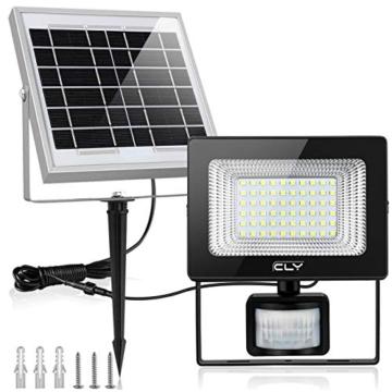 CLY Faretto Solare con Sensore di Movimento 60 LED, Luce Solare da Esterno, Faro Pannello Solari Impermeabile(IP66), Lampada Solare da Esterno con Sensore, 6500K Bianco per Giardino - 1