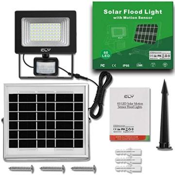 CLY Faretto Solare con Sensore di Movimento 60 LED, Luce Solare da Esterno, Faro Pannello Solari Impermeabile(IP66), Lampada Solare da Esterno con Sensore, 6500K Bianco per Giardino - 5