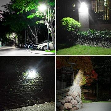 CLY Faretto Solare con Sensore di Movimento 60 LED, Luce Solare da Esterno, Faro Pannello Solari Impermeabile(IP66), Lampada Solare da Esterno con Sensore, 6500K Bianco per Giardino - 8
