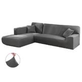 Copridivano con Penisola Elasticizzato Chaise Longue Sofa Cover Componibile in Poliestere a Forma di L è Composto da 2PCS (Grigio, 3 Posti+3 Posti) - 1