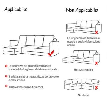 Copridivano con Penisola Elasticizzato Chaise Longue Sofa Cover Componibile in Poliestere a Forma di L è Composto da 2PCS (Grigio, 3 Posti+3 Posti) - 3