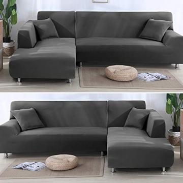 Copridivano con Penisola Elasticizzato Chaise Longue Sofa Cover Componibile in Poliestere a Forma di L è Composto da 2PCS (Grigio, 3 Posti+3 Posti) - 4