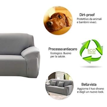 Copridivano con Penisola Elasticizzato Chaise Longue Sofa Cover Componibile in Poliestere a Forma di L è Composto da 2PCS (Grigio, 3 Posti+3 Posti) - 5
