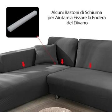 Copridivano con Penisola Elasticizzato Chaise Longue Sofa Cover Componibile in Poliestere a Forma di L è Composto da 2PCS (Grigio, 3 Posti+3 Posti) - 6