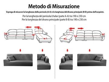 Copridivano con Penisola Elasticizzato Chaise Longue Sofa Cover Componibile in Poliestere a Forma di L è Composto da 2PCS (Grigio, 3 Posti+3 Posti) - 7
