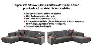 Copridivano con Penisola Elasticizzato Chaise Longue Sofa Cover Componibile in Poliestere a Forma di L è Composto da 2PCS (Grigio, 3 Posti+3 Posti) - 9