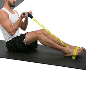 Corda elastica multifunzionale per allenamento con 4 corde, fascia per gambe con pedali, per yoga, fitness, addominali, body-building, fascia elastica per esercizio, da casa e palestra, Giallo - 2