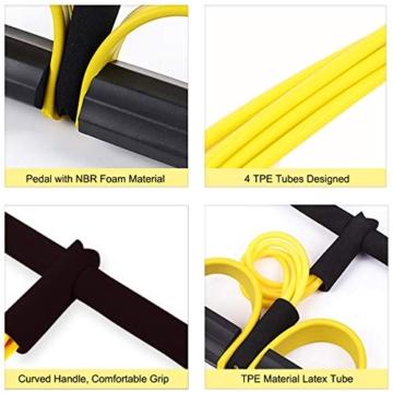 Corda elastica multifunzionale per allenamento con 4 corde, fascia per gambe con pedali, per yoga, fitness, addominali, body-building, fascia elastica per esercizio, da casa e palestra, Giallo - 3