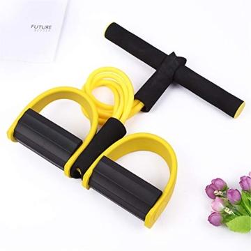 Corda elastica multifunzionale per allenamento con 4 corde, fascia per gambe con pedali, per yoga, fitness, addominali, body-building, fascia elastica per esercizio, da casa e palestra, Giallo - 4