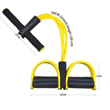 Corda elastica multifunzionale per allenamento con 4 corde, fascia per gambe con pedali, per yoga, fitness, addominali, body-building, fascia elastica per esercizio, da casa e palestra, Giallo - 5