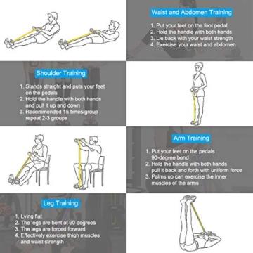 Corda elastica multifunzionale per allenamento con 4 corde, fascia per gambe con pedali, per yoga, fitness, addominali, body-building, fascia elastica per esercizio, da casa e palestra, Giallo - 6