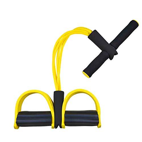 Corda elastica multifunzionale per allenamento con 4 corde, fascia per gambe con pedali, per yoga, fitness, addominali, body-building, fascia elastica per esercizio, da casa e palestra, Giallo - 1