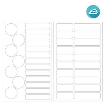 ETIKIDS , 40 Etichette termoadesive bianche, da STIRARE , in 4 formati diversi per contrassegnare indumenti, vestiti dei bambini a scuola ed asilo. (BASIC) - 2