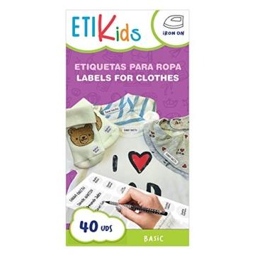 ETIKIDS , 40 Etichette termoadesive bianche, da STIRARE , in 4 formati diversi per contrassegnare indumenti, vestiti dei bambini a scuola ed asilo. (BASIC) - 3
