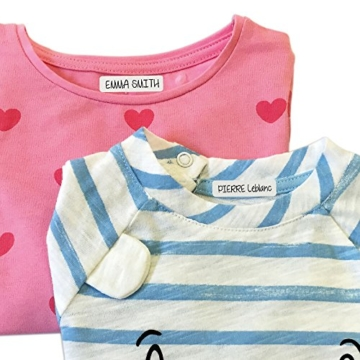 ETIKIDS , 40 Etichette termoadesive bianche, da STIRARE , in 4 formati diversi per contrassegnare indumenti, vestiti dei bambini a scuola ed asilo. (BASIC) - 4