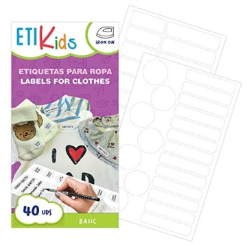 ETIKIDS , 40 Etichette termoadesive bianche, da STIRARE , in 4 formati diversi per contrassegnare indumenti, vestiti dei bambini a scuola ed asilo. (BASIC) - 1