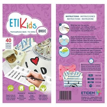 ETIKIDS , 40 Etichette termoadesive bianche, da STIRARE , in 4 formati diversi per contrassegnare indumenti, vestiti dei bambini a scuola ed asilo. (BASIC) - 5